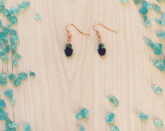 Rose Gold african turquoise and black onyx hearts