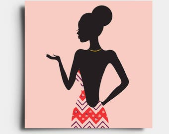 African Print Lady - Greetings Card - Pink