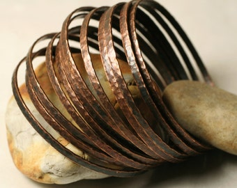 Stacking Bangle Bracelets, Bangle Set, Antique Copper Bangles, Handmade Bangles Hammered Bangles, one piece (item ID ACBW64N)