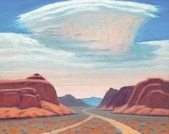 Utah - 'Junction Canyon' - original Landscape Painting - 6x6 - oil - desert - impressionist - turquoise - sky - clouds - Southwest art