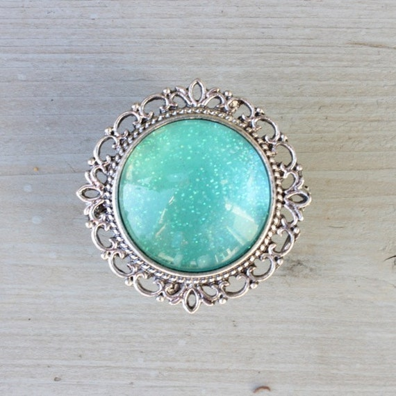 Glitter Drawer Knobs Turquoise - Aqua with SILVER or BRASS Hardware ...