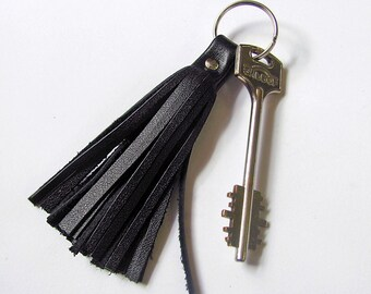 Leather Tassel Keychain, Black color, RECLAIMED