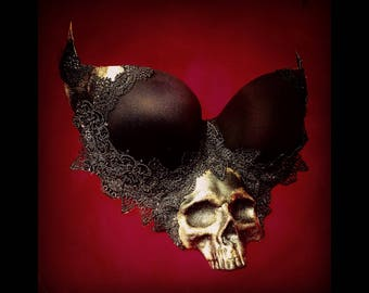 SKULL BRA TOP - Dark Halloween Costume - Day of the Dead - Gothic Dress - Macabre Couture - Custom Colours and Plus Size availabe