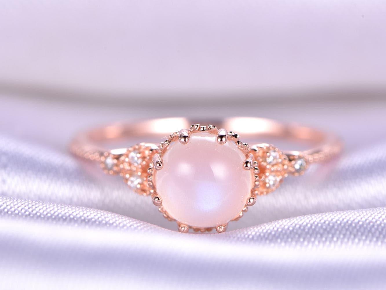 14k/18k Moonstone Ring Rainbow Moonstone Engagement Ring