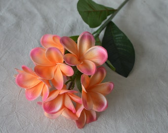 Frangipani flower etsy coral pink frangipani plumerias stems natural real touch flowers for silk bridal bouquet wedding centerpieces mightylinksfo