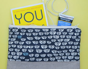 Two Toned Folding Zipper Pouch, Blue Clutch Bag, Fold Over Bag