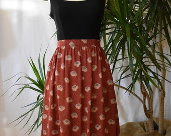 80's Rust brown skirt, midi, floral, high waisted, vintage