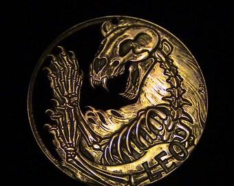 Memento Mori Zodiac Series - Bronze - Hand Cut Medallion - LEO - BRAND NEW!!
