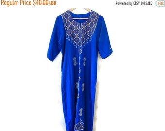 SALE Blue Embroidered Dress Ethnic Hippie Festival Vintage S M L
