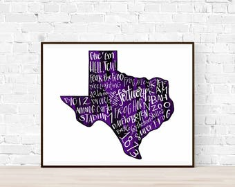 PRINT Texas Christian University TCU Horned Frogs Typography Cardstock Print Wall Art, Give 'Em Hell, Go Frogs, Fort Worth