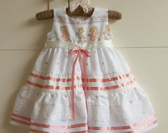 SALE 25% OFF!! 9-12 Months Only! White Dress Baby Girls with Cute Mice on Chest and Pink Ribbon and Embroidery Detail
