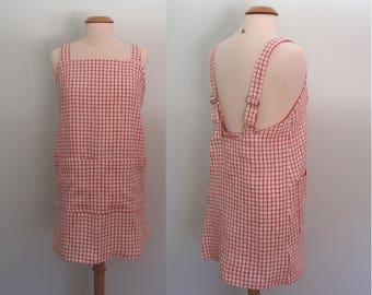 Red Gingham Apron, Linen Wrap Apron Dress, Pinafore, Flax Japanese Apron, Garden Apron, Artist Apron, Yarn Dyed Linen, Adjustable