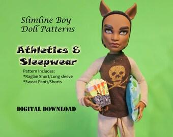 Slimline Boys Athletics Sleepwear Raglan pajama shirt sweatpants doll clothes patterns for Monster High, Isul, Obitsu & similar boy dolls