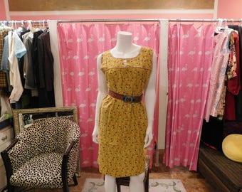 1940-50 Farm dress / Cotton Dress/ Pin up/ Plus size/  True vintage/ Day dress/
