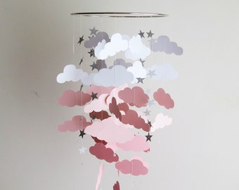 Cloud Mobile - Nursery Mobile, Pink Mobile, Baby Mobile, Hanging Mobile, Clouds and Stars, Custom Colors.