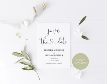 Printable Save the Date Card, Simple Wedding Announcement,Engagement,Save the Dates,Template,Instant Download, Heart, Calligraphy  - Heather