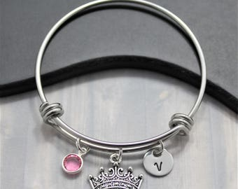 Princess Bangle Bracelet - Personalized - Disney Princess - Crown Charm Bracelet - Initial Bangle - Princess Gifts