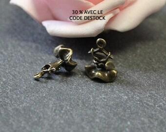 x 10 mini charms brass 13 x 10 mm BR514 ruffle dress