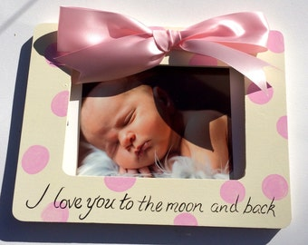 I love you to the moon and back, It's a girl,  Picture Frame  Sonogram, New Baby Announcement, shower gift Grandparents,Sister