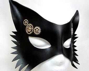 Steampunk Wolf Mask / Wolf Mask / Leather Mask / Black Leather / Steamgoth Mask / Steampunk / Gothic/ Fetish / Fox / Animal Mask/ Masquerade