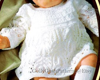 """Instant Download - PDF Knitting Pattern - Baby Dress- Angel Top - 18-20"""" Chests"""