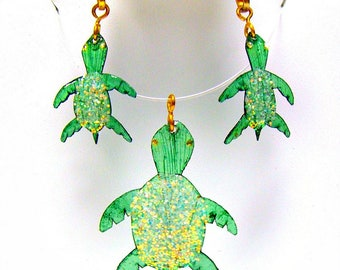 Sea Turtle Necklace Earring Set Mermaid Beach Jewelry Made with Real Fish Scales TNITU