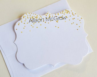Personalized Stationery Cards, Personalized Stationery Teacher, Gold Personalized Stationery, Personalized Notecards