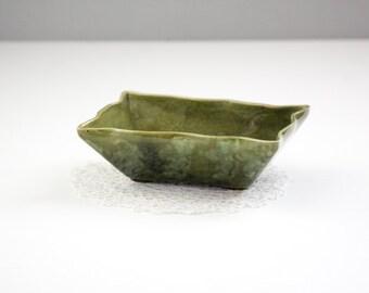 Vintage Covina Pottery Planter, Emerald Green Drip Glaze