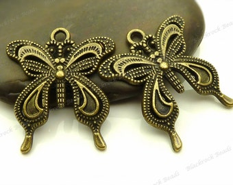 6 Butterfly Pendants 27x24mm Antique Bronze Tone Metal - Charms, Jewelry Supplies - BB33