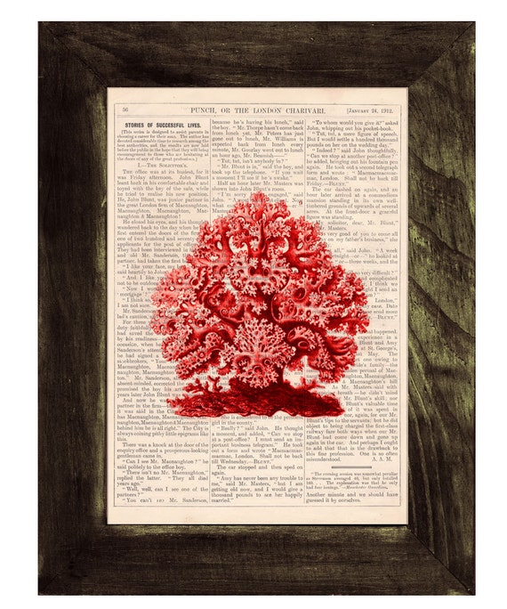 Coral Vintage Book Print Dictionary or Encyclopedia Page Book print Gorgeous Red Coral Print on Vintage Bookart art SEA077