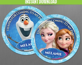 Disney Frozen Birthday Favor Tags - Instant Download and Edit with Adobe Reader
