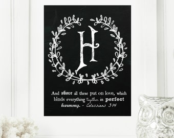 """Instant """"Family Monogram Scripture"""" Chalkboard Wall Art Print 8x10 Letter """"H"""" Printable Home Decor and Binder Cover"""