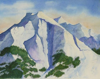mountain watercolor print of my original painting realistic snowscape