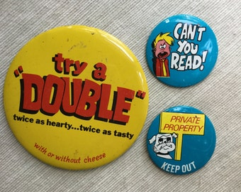Funny Vintage Button Pin Collection