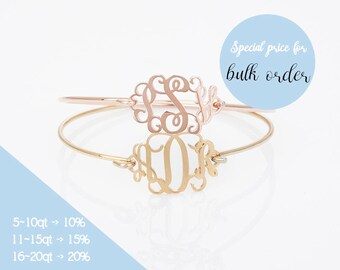 Monogram Bangle, Custom Monogram Bracelet, Personalized Name Bracelet , Bridesmaid Gift, Wedding Gift, Mom Gift