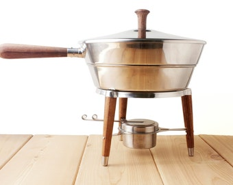 Teak and Chrome Chafing Dish - Keeps food warm - mid century modern dinner party buffet serving pot