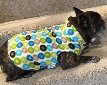 French Bulldog Frenchie Snowflakes in Green, Brown, and Turquoise Dots Fleece Jacket with Stand-Up Collar