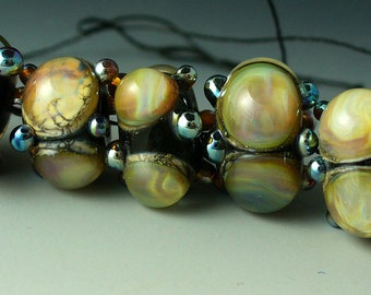 Lampwork beads/SRA lampwork/beads/Double Helix/opals/peach/