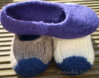 ENGLISH version - Knitting pattern for Duffers felted slippers - a felted slipper pattern with only 19 rows of knitting