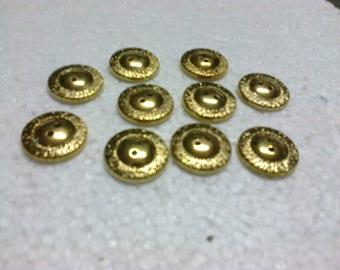 lot 12 buttons round ø 2cm Golden brass