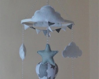 Giraffe, elephant, stars, clouds, hot air balloon baby mobile Monochrome