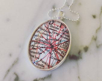 Indianapolis Map Necklace - Map Jewelry - Bridesmaid Gift - Indy - Midwest - Vintage Atlas Charm