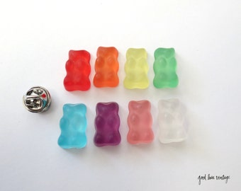 Gummy Bear Pin Earrings Candy Button Fake Food Gummi Dessert Snack Jewelry Tie Coat Pin Purse Flair Kawaii