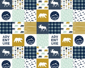 Adventure Quilt Fabric by the Yard Navy Mustard Bear Moose Cheater Quilt Fabric Cotton Baby Boy Fabric Organic Cotton Minky