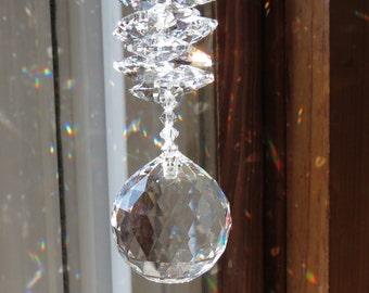 Swarovski Crystal Suncatcher, Swarovski Clear Crystal 30mm Ball With A Cluster Of Swarovski Crystal Octagons,  Keira's Crystal Creations