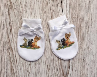 Bambi, Thumper and Flower inspired Baby Scratch Mitts