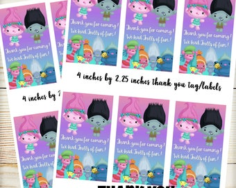 Trolls Birthday Thank you Labels Tags - DIY Printable Labels - Poppy Labels
