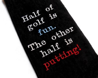 Golf towel, funny towel, embroidered towel, custom golf, golfer gift, golf gift, personalized golf, boss dad gift, funny golf, groomsmen