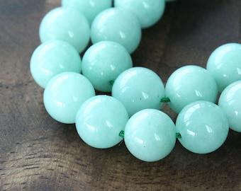Mountain Jade Beads, Aqua, 8mm Round - 15 inch strand - eMJR-B04-8