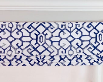 Faux (fake) Flat Roman Shade Valance.  Premier Prints Jing Regal Blue and White..  Other colors available.